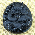 New Fashion Natural Black Obsidian Carved Dragon Lucky Amulet Pendant  Free beads Necklace Fine Jade Crystal Jewelry