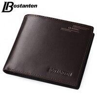 Bostanten Coffee New Sale Vintage Men Vertical Style Cow Leather Men Wallet Men Designer Carteire Money