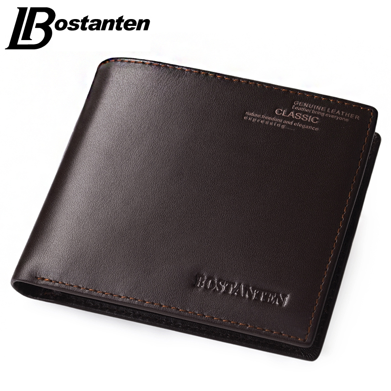 Bostanten Coffee New Sale Vintage Men Vertical Style Cow Leather Men Wallet Men Designer Carteras Money Clip Men Pu