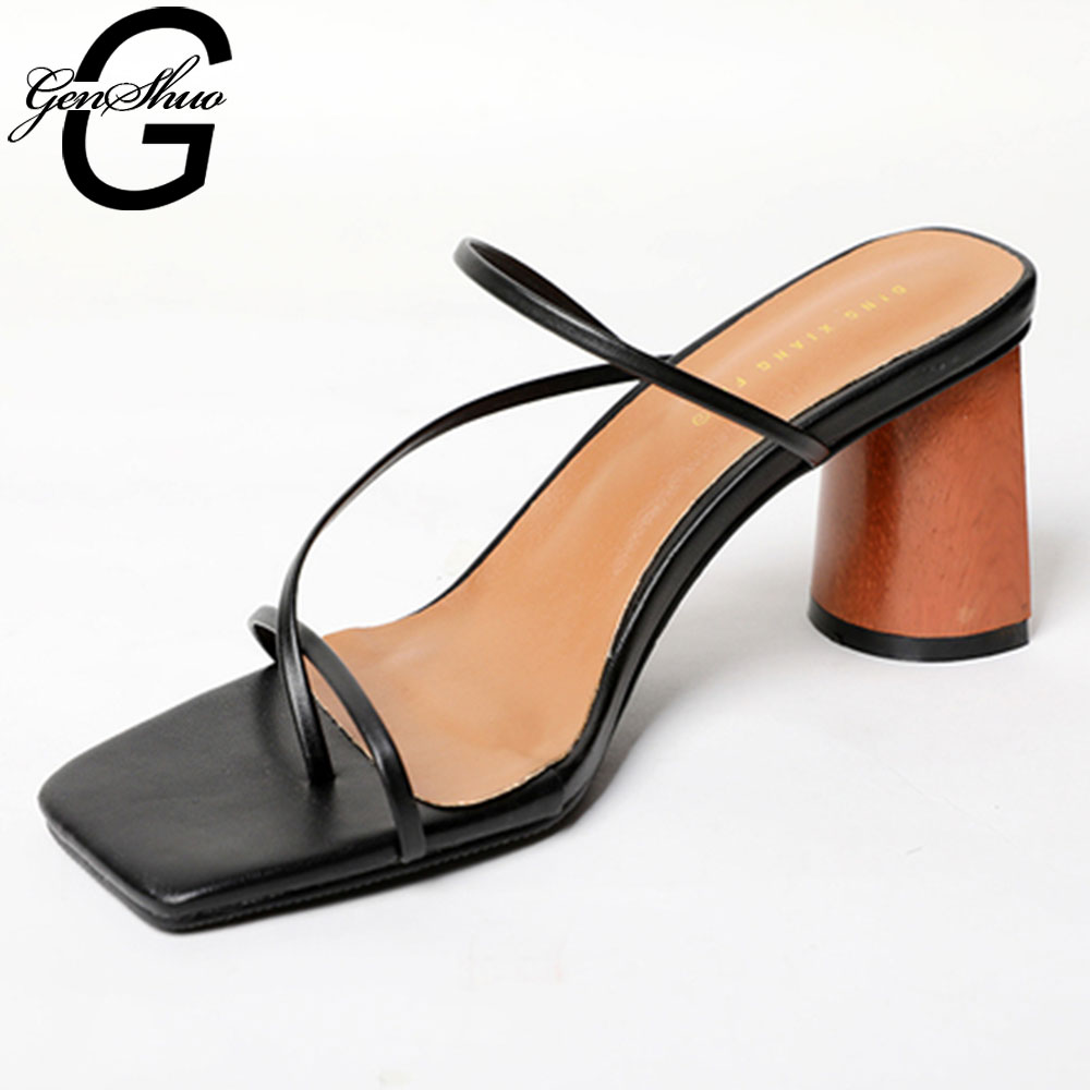 GENSHUO Sandals Women Slide-Slipper Narrow-Band Wood-Heel Summer Shoes Square Toe Vintage