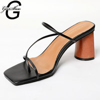 GENSHUO Women Vintage Square Toe Narrow Band High Heel Sandals Women Summer Shoes Women Round Wood Heel Slide Slipper Sandals