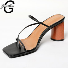 Genshuo女性ヴィンテージスクエアトゥ狭帯域ハイヒールサンダル夏の靴女性のラウンド木製ヒールスライドスリッパサンダル