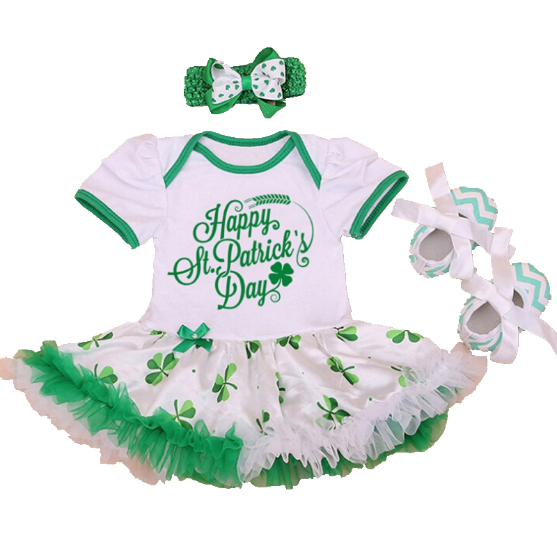 Happy St Patricks Day Green Newborn Baby Girl Lace Bodysuit Dress Crib Shoes Headband 3PCS Toddler Tutu Sets Bebe Girls Clothes