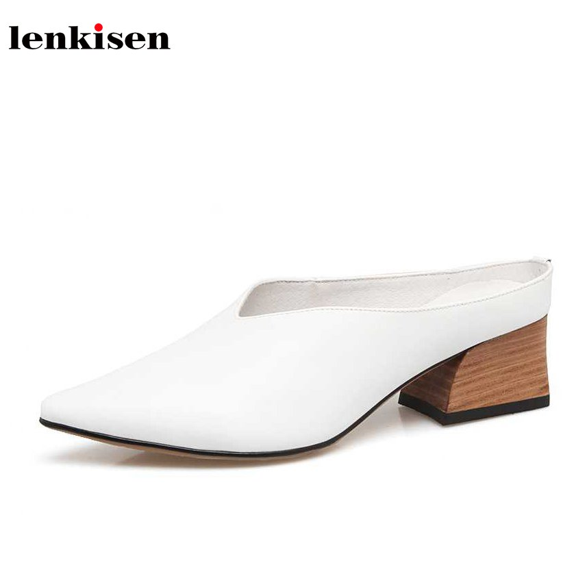 Lenkisen 2018 new cow leather pointed toe solid slingbacks pumps simple European style slip on med heels office women shoes L8f1