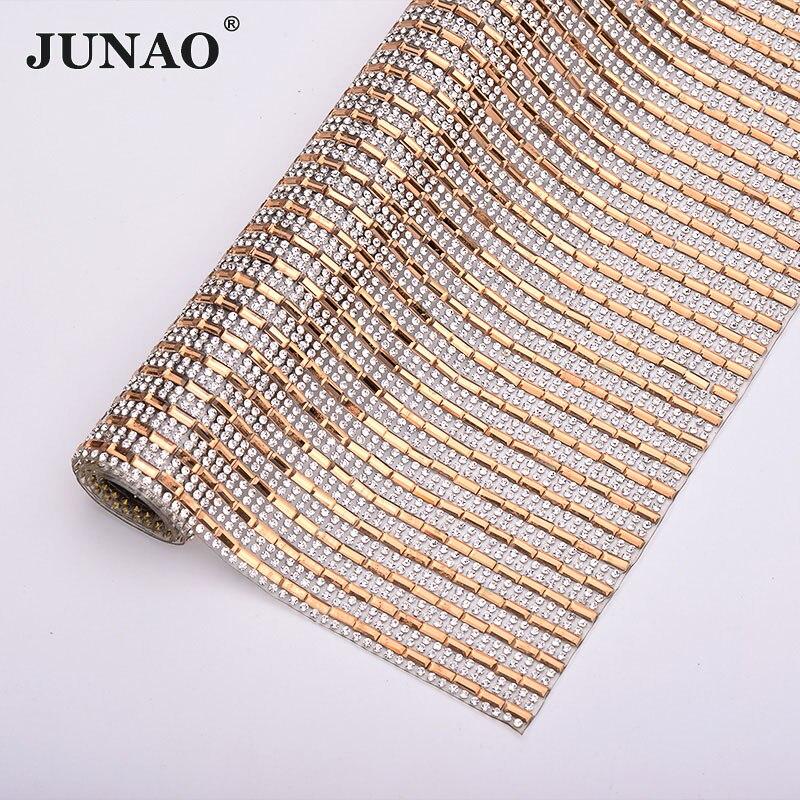 JUNAO 24x40cm Clear Champagne Rhinestones Mesh Trim Glass Crystal Ribbon Fabric Hot Fix Strass Applique Diamond Tape Banding