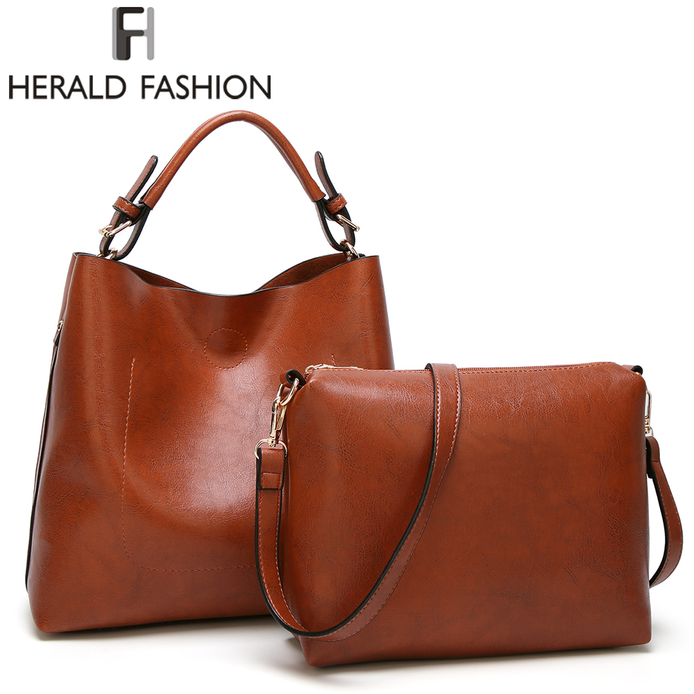 Herald Fashion Women Tote Bag Soft PU Leather Composite Bag Luxury Handbags Vintage Women Bags Designer Autumn and Winter Bag fashionable women s tote bag with cover and pu leather design