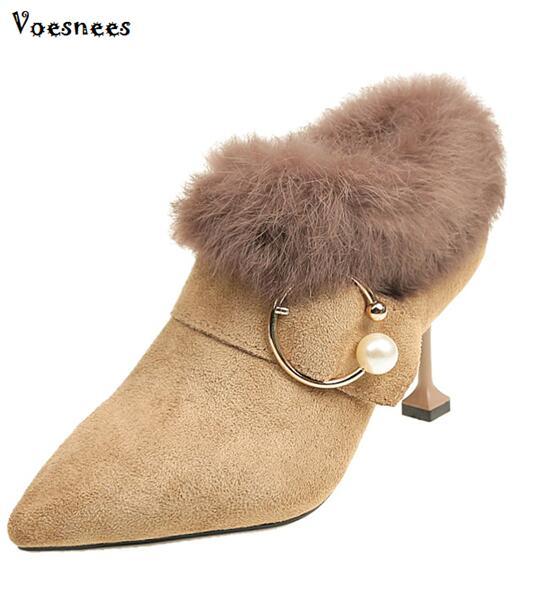 Women Ankle Boots Warm Faux Fur Zip High Crystal Stilettos High Heels 7.5CM Pointed Toe Ladies Short Botas Solid Female Footwear