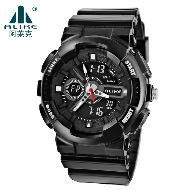 2016 Fashion Waterproof Outdoor Digital Swimming Watch Luminous Double Multi-functional Sports Watch Men Quartz Watches Package