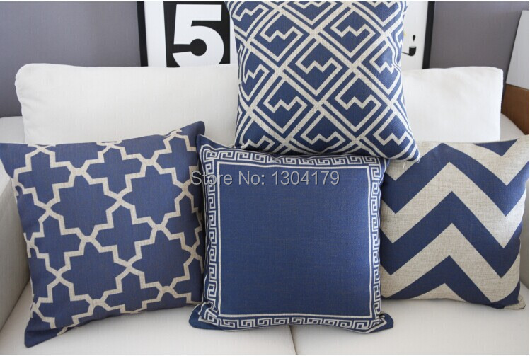 Hot Australia Navy Blue Wave Pattern Cushion Blue Cotton