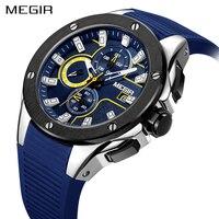 Megir New Fashion Big Dial Chronograph Watch Men Luxury Top Brand Quartz Military Student Sport Watch
