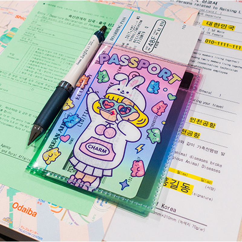 Bentoy Cartoon PVC Jelly Passport Holder Travel Unicorn ID Card Holder Waterproof Card Bag Milkjoy Women Letter Passport Case