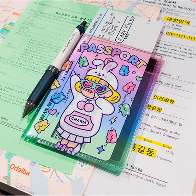 Bentoy Cartoon PVC Jelly Passport Holder Travel Unicorn ID Card Holder Waterproof Card Bag Milkjoy Women Letter Passport Case