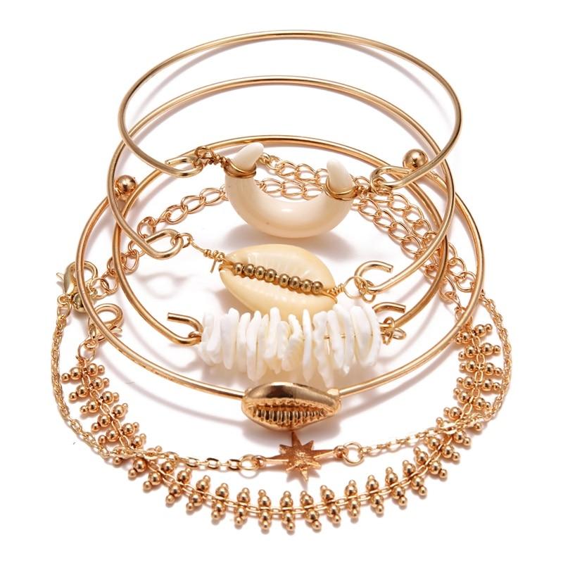 KISSWIFE браслет в стиле бохо ракушка Луна кисточкой браслет для женщин Ретро Геометрические выразительные очаровательные вечерние свадебные ювелирные изделия аксессуары - Окраска металла: KWZJ0456