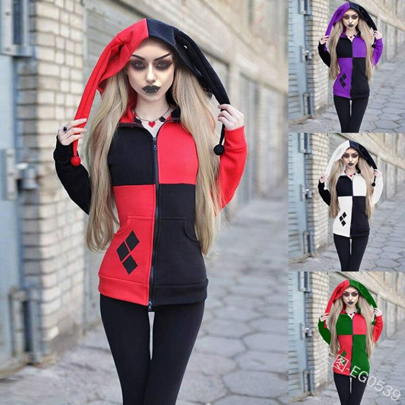 Арлекин Клоун Шут костюм страшное пальто с капюшоном толстовка леди девушки наряд для косплея на Хэллоуин Толстовка для взрослых женщин че...