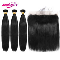 3 Bundles With Frontal Straight Virgin Human Hair Extension 13x4 Swiss Lace Frontal Closure Indian Ear To Ear Natural Color