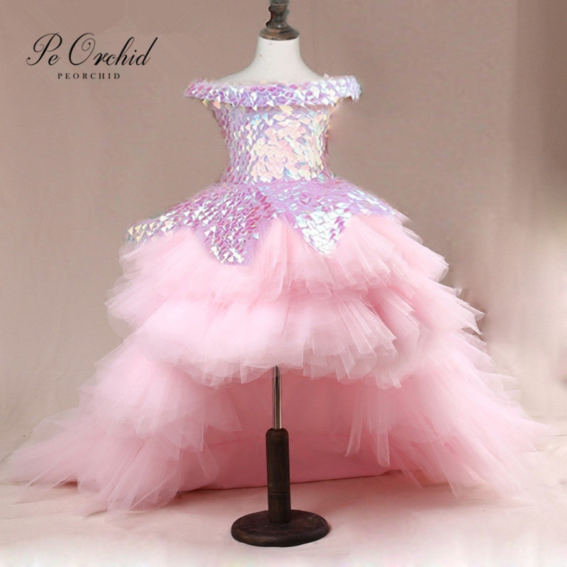 PEORCHID Pink Hig Low   Flower     Girl     Dresses   With Detachable Train Abendkleider Kinder Pageant Gowns Child Birthday Party   Dress