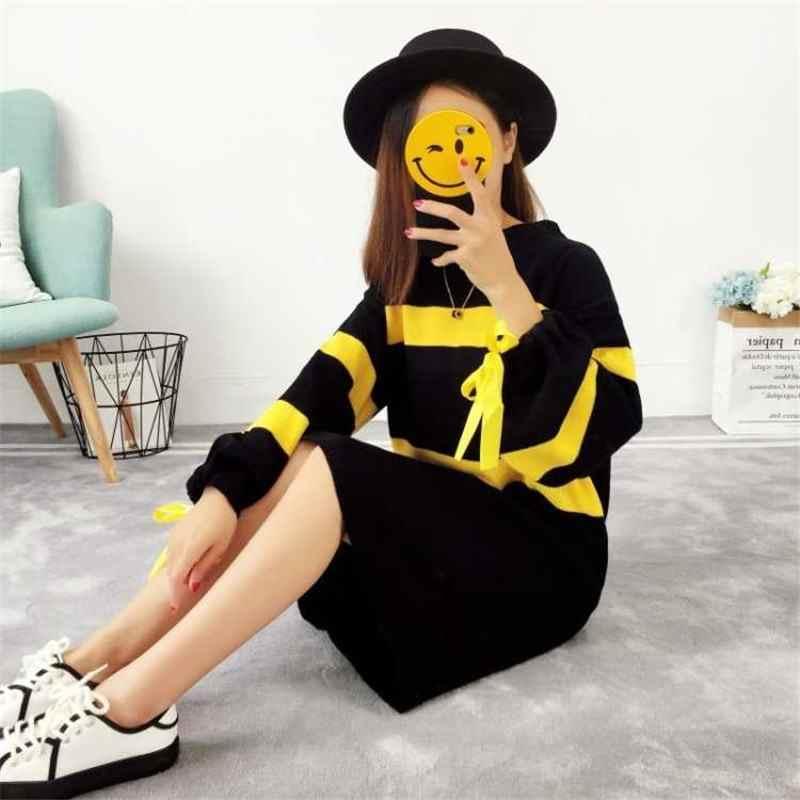 2019 חדש אביב סתיו נשים קוריאני סגנון פאף שרוול סרוג סוודר שמלת נקבה מקרית Oversize טריקו בסוודרים Vestido K137