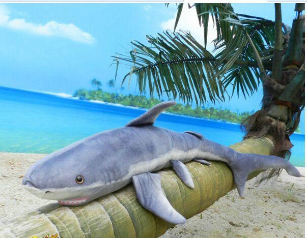 big size plush shark simulation stuffed gray shark