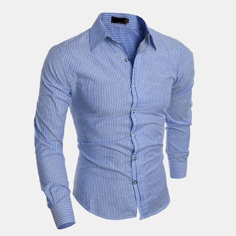 d0f343134e Caliente 2018 hombres de negocios casual rayas manga larga camisa social  masculina camisetas juventud moda lavado azul marino vino tinto camisa en  Camisas ...