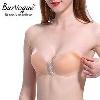 Burvogue 2 Pcs Women Sexy Bra Underwear Self Adhesive Strapless Bras Push Up Invisible Silicone Bra