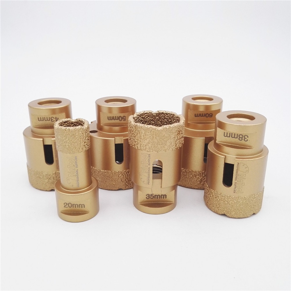 цена на DIATOOL 6pcs/set Vacuum brazed diamond drilling core bits with 15MM Diamond height 20/35/38/43/50/60mm M14 Drill bits hole saw