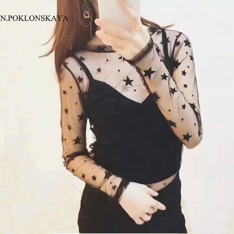 Sexy schwarze bluse frauen tops 2017 transparent mesh long sleeves aush hlen spitze bluse shirts - Schwarze jeansjacke damen ...