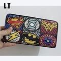 2017 Unisex Marvel Superhéroe Supercool Bombo Remache Retro de Cuero de LA PU Carpeta de La Manera de Graffiti Cremallera Práctico Delgado Monedero Dólar Precio