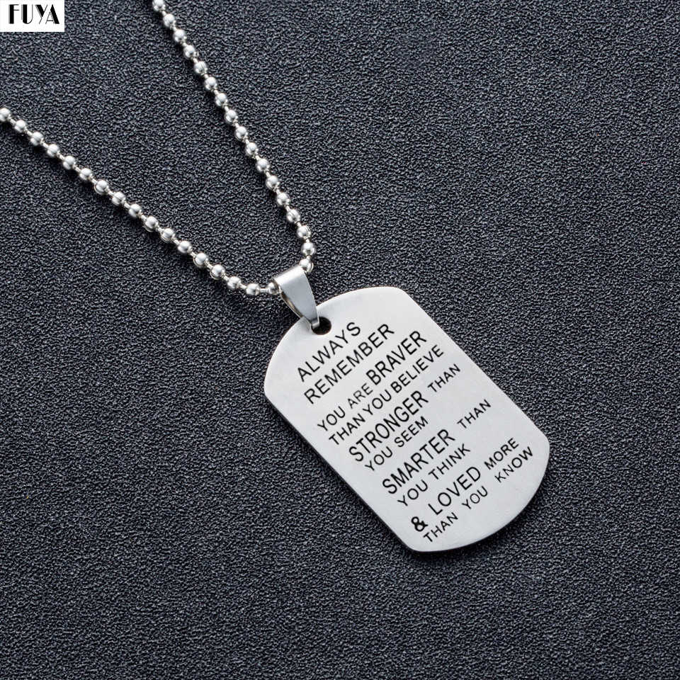 Stainless steel chain necklaces mens Dog tags army pendant necklace Fashion custom always loved keychain best friend jewelry