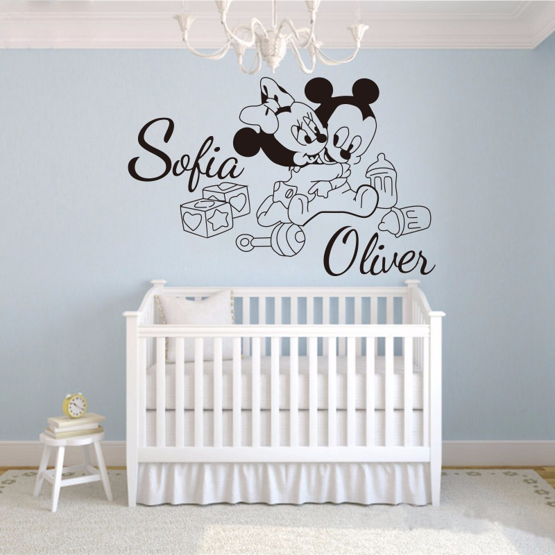 reative cute Mickey Mouse Minnie Custom two Kids Name baby wall stickers for kids rooms home decoration
