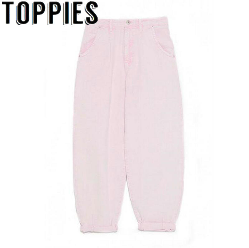 2019 Pink Jeans High Waist Denim Harem Pants Boyfriend jeans for Woman Loose Trousers vaqueros mujer
