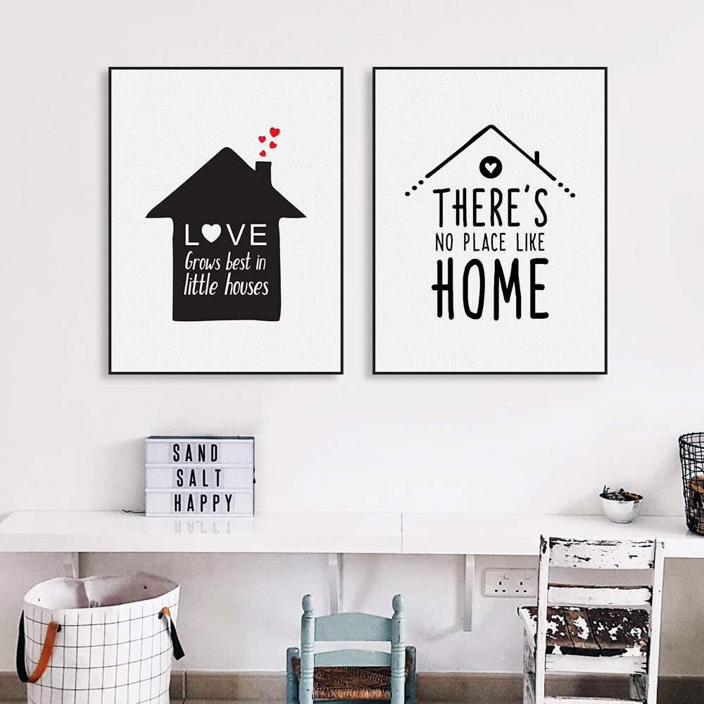 Black white nordic minimalist houses love quotes a4 canvas art print poster wall picture painting home