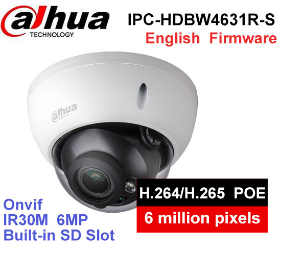 Dahua IPC-HDBW4631R-S 6MP IP Camera IK10 IP67 built-in POE SD slot cctv camera HDBW4631R-S dahua ip camera 6mp poe ipc hdbw4631r s support sd slot ir30m ik10 ip67 cctv camera english firmware