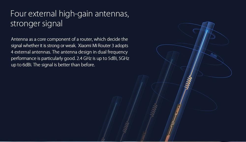 original xiaomi mi router 3 Dual band 4 antenna 5GHz 1167Mbps WiFi 802.11ac b g n APP Control 4