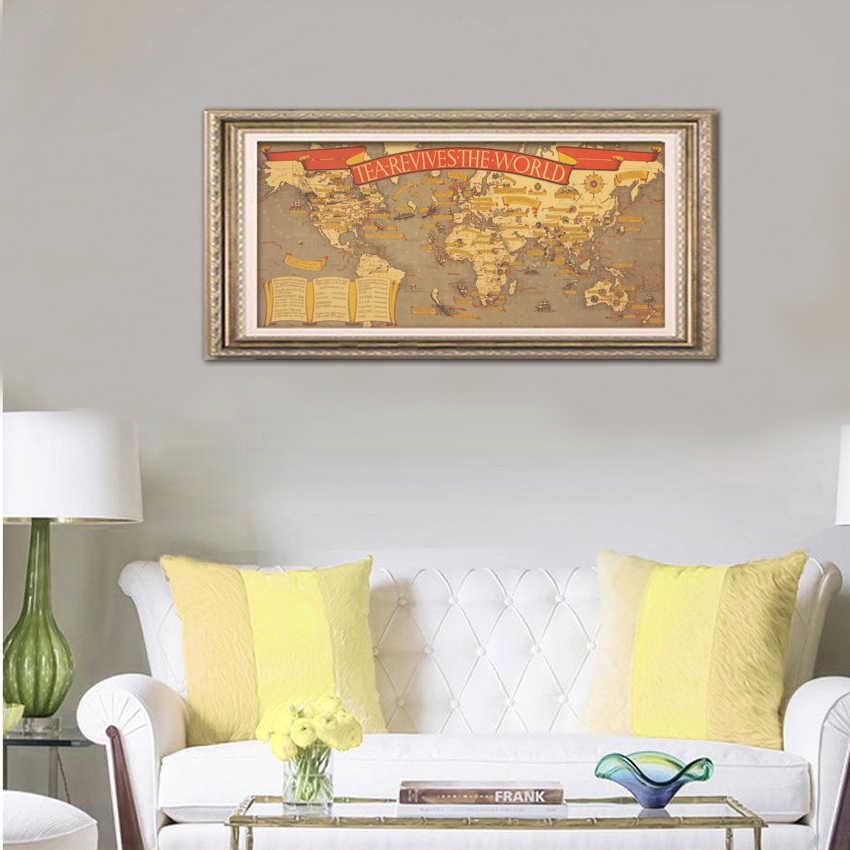 TIE LER แผนที่วัฒนธรรมชาชา Revives World Kraft กระดาษโปสเตอร์บาร์ Retro โปสเตอร์ตกแต่ง 72.5x35.5 ซม.