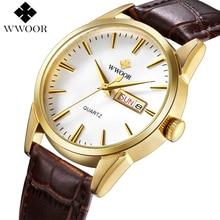Los hombres Relojes de Primeras Marcas de Fecha Día del Cuero Genuino Reloj de Oro de Lujo Reloj de Los Hombres Ocasionales de los Deportes del Cuarzo Reloj de Pulsera Relogio Masculino