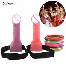 OurWarm  2Penis+12 Rings Fake Penis Headband Bachelorette Party Decor Bachelor Supplies Hen Favors Adult Games