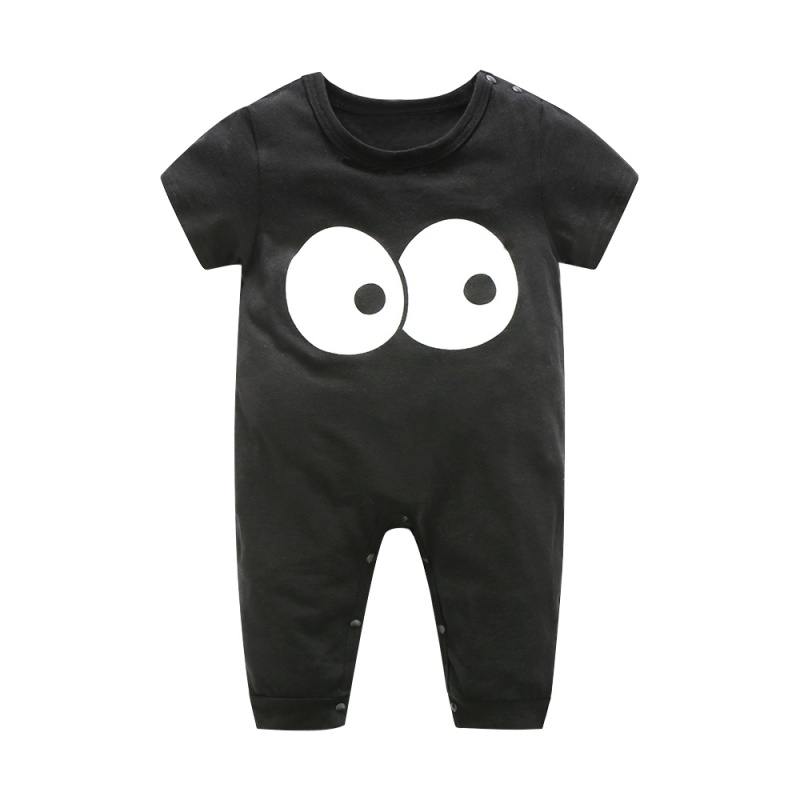Fashion Casual Baby Rompers Children Spring Summer Clothing Set Clothes O-neck Short Sleeve Baby Girl  Jumpsuits Black baby rompers o neck 100