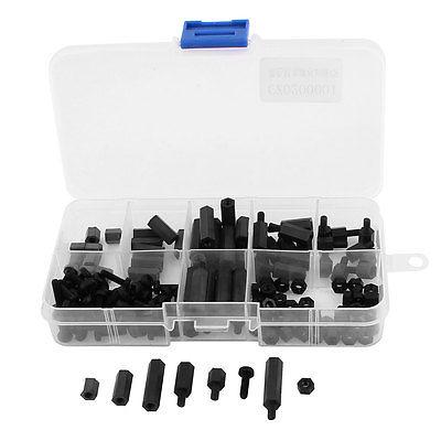 Black M3 Nylon Hex Spacers Screw Nut Stand-off Assortment Kit 160pcs 150pcs m3 white hex spacers nylon screw nut washer assortment standoff kit stand off plastic