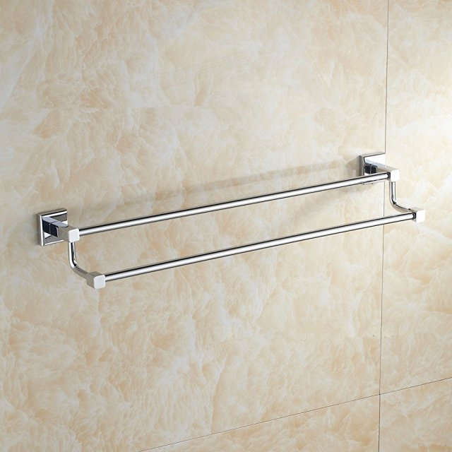kitchen towel bars outdoor patio aothpher wall mounted double layer bathroom bar brass rack rail in chrome finished 40cm