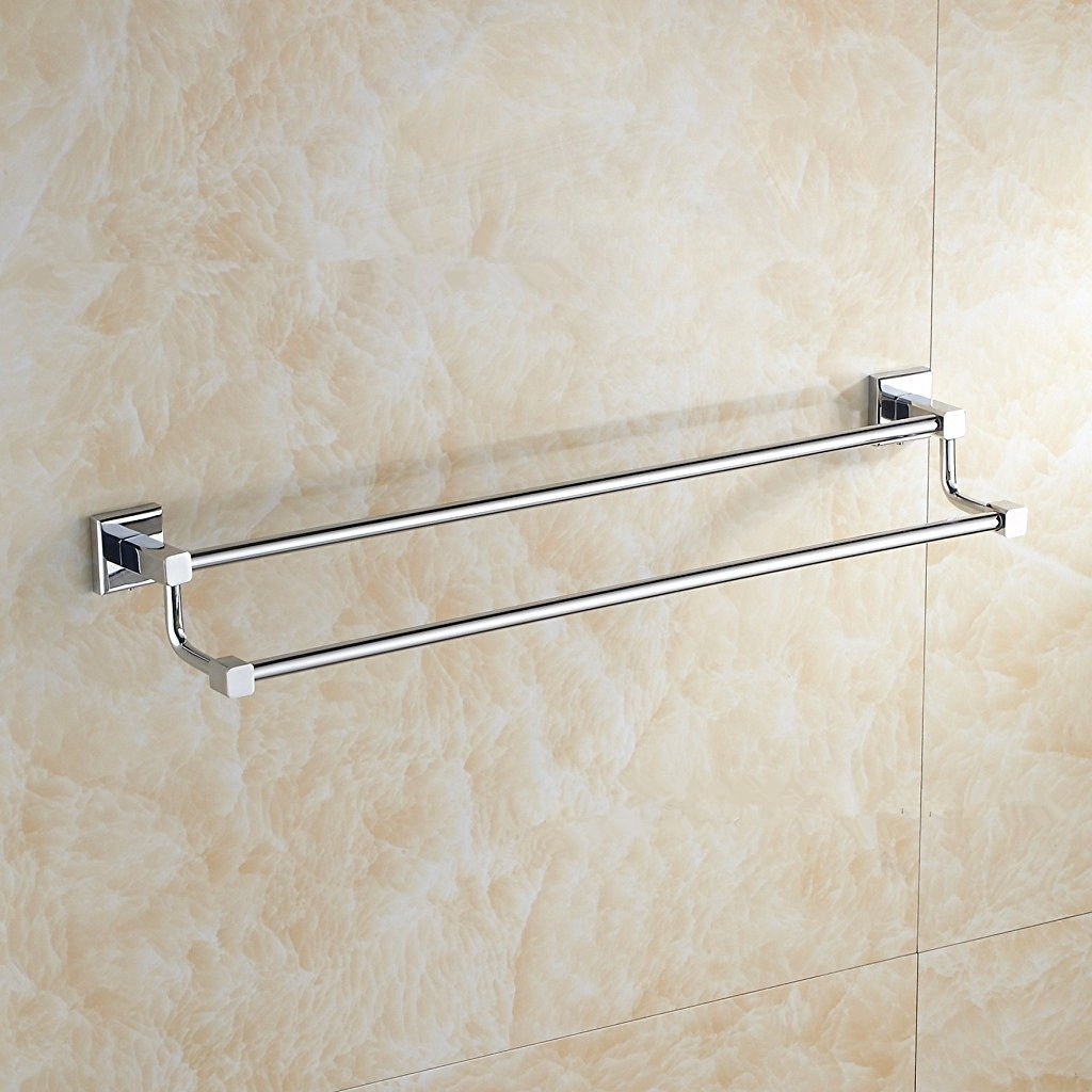 Bathroom wall mounted chrome brass towel rack shelf towel bar w hooks - Aothpher Wall Mounted Double Layer Bathroom Towel Bar Brass Kitchen Towel Rack Towel Rail In