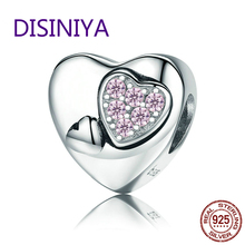DISINIYA  925 Silver Legal Heart Bracelet Diy Jewelry Bride Gift BSC019 for Female Charm of Pink CZ Crystal Account