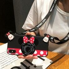 Для samsung Минни чехол S8/S9 плюс мягкая TPU задняя крышка Galaxy S6/s7 edge Симпатичный розовый камеры Note 4/5/8/9 девушка основа + ремень