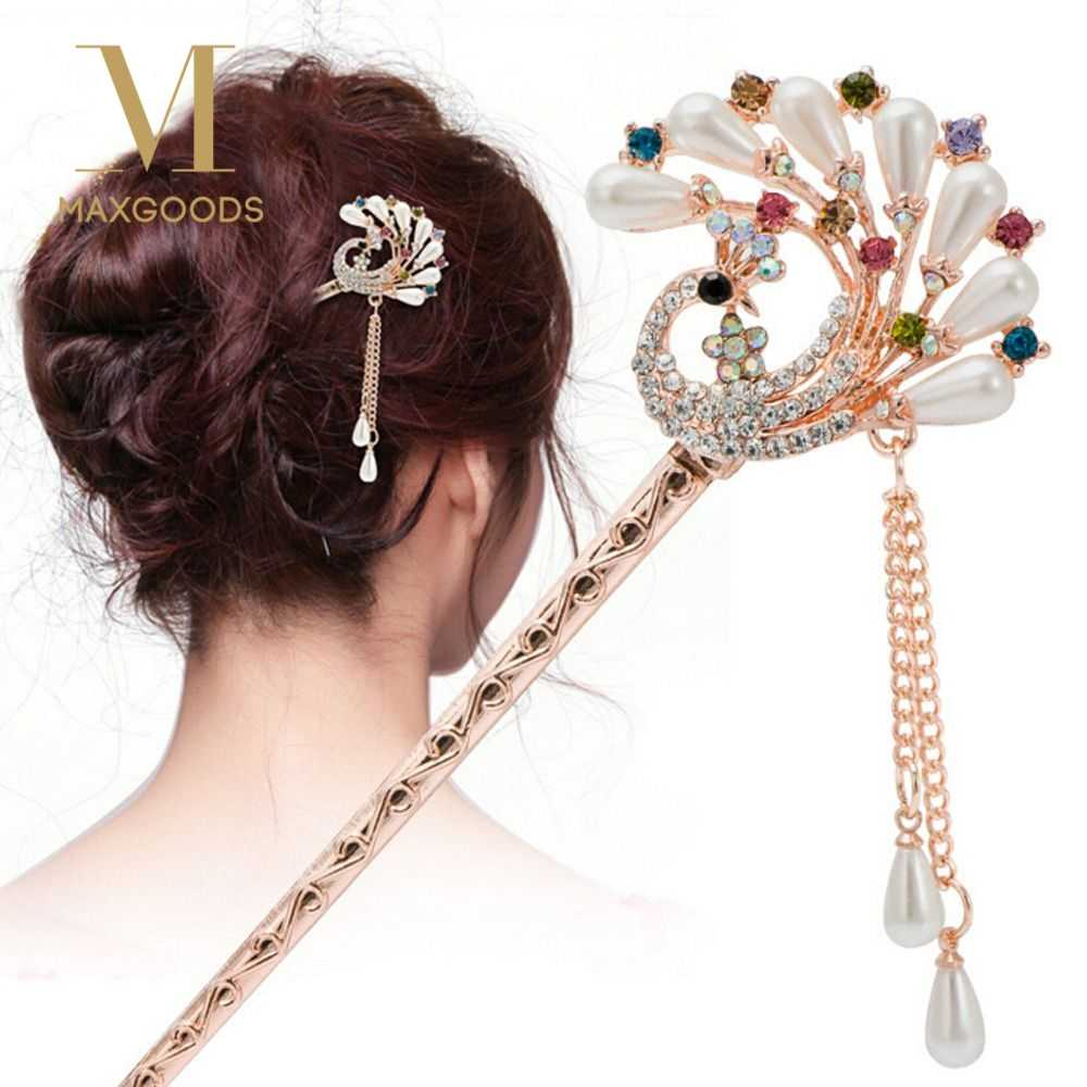 1Pcs Vintag Hairpins Elegant Women Colorful hair clip Rhinestone Butterfly Hair Sticks Bridal Wedding Party Jewelry