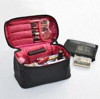 New Brand Black Women Cosmetic Bag High Quality Nylon Travel Cosmetic Organizer Zipper Portable Makeup Bag