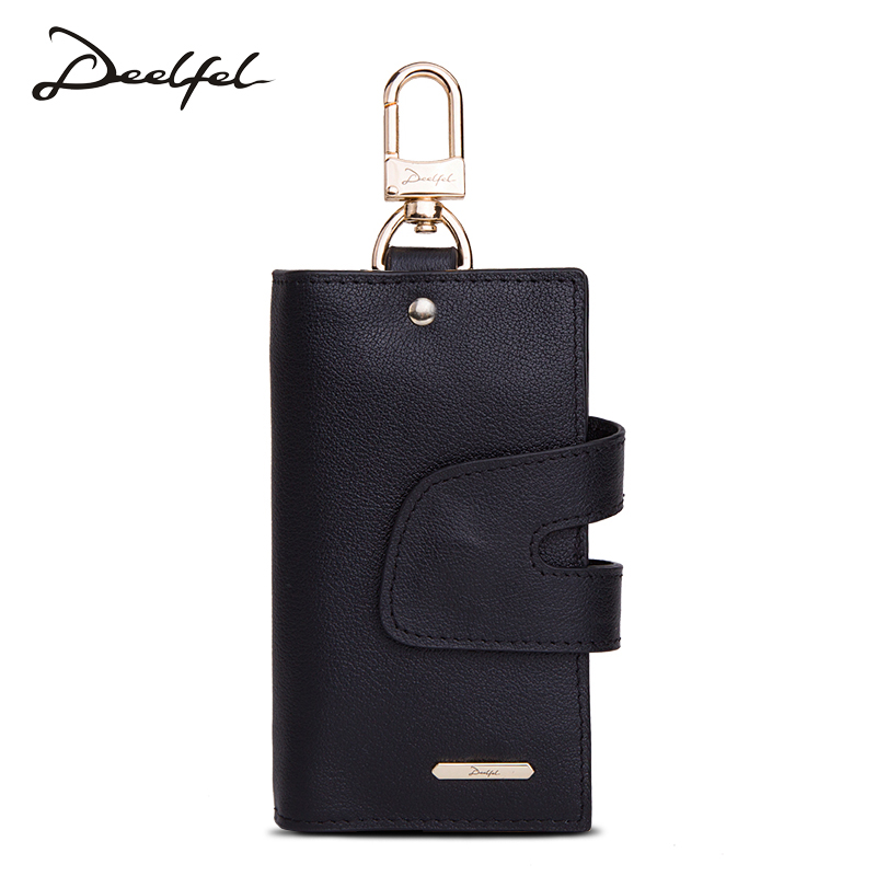 Deelfel Genuine Leather Key Wallet Men Keychain Hasp Key Case Bag Men Key Holder Housekeeper Coin Pocket Card Holder Wallets
