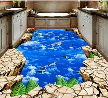 3D Flooring White clouds sky birds 3D Wallpaper Self-adhesive Vinyl Flooring Living Room Bedroom Photo Wallpaper(China)
