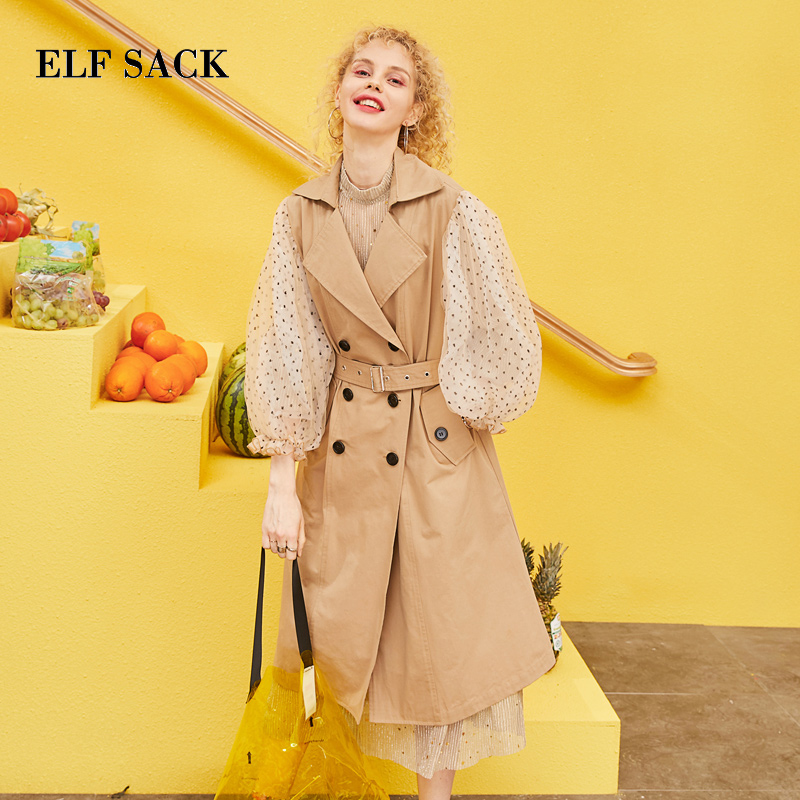 ELF SACK 2019 Spring New Woman   Trench   Coat Full Turn-down Collar Long Knitted Ladies   Trench   Coat Lantern Sleeve Femme Coats