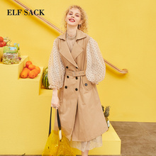 ELFSACK 2019 Spring New Woman Trench Coat Full Turn-down Collar Long Knitted Lad