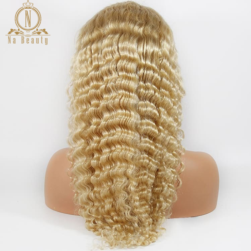 Transparente 613 Full 13X6 Loiro Encaracolado Perucas Do Laço Frontal Brasileiro Pré Depenado Não Longa Dianteira Do Laço peruca De Cabelo humano cabelo Remy
