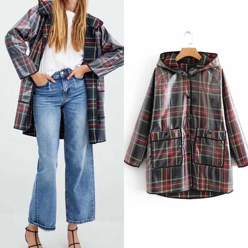 Waterproof rain jacket women rainwear Fashion girls raincoat Travel Hoodie Windproof Hiking Coat Jacket Square pattern New
